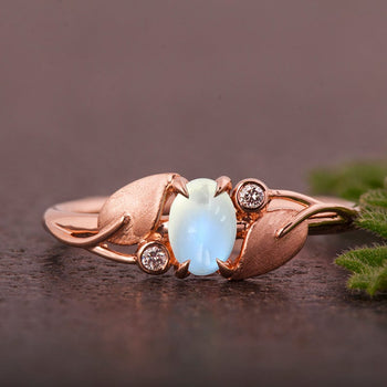 Rustic Leaf Design 1.25 Carat Oval Cabochon Cut Blue Moonstone and Diamond Engagement Ring in Rose Gold