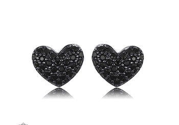 .25 Carat Round Cut Black Diamond Cluster Stud Earrings in White Gold