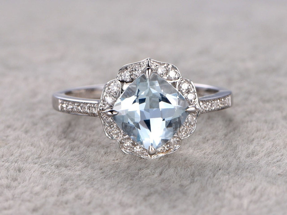 1.50 Carat Cushion Cut Aquamarine and Diamond Engagement Ring in White Gold