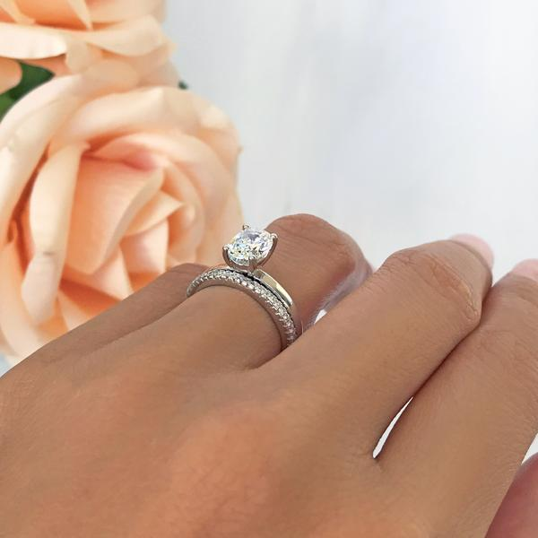 Classic 1.5 Carat Oval Cut Solitaire Wedding Ring Set in White Gold over Sterling Silver