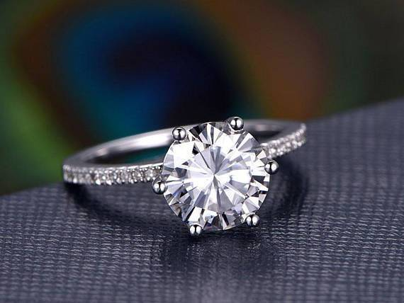 1.25 Carat Round Cut Moissanite and Diamond Engagement Ring in 9k White Gold