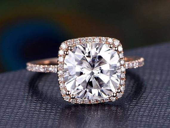 2 Carat Cushion Cut Moissanite And Diamond Halo Engagement Ring In Ros Kisnagems Co Uk