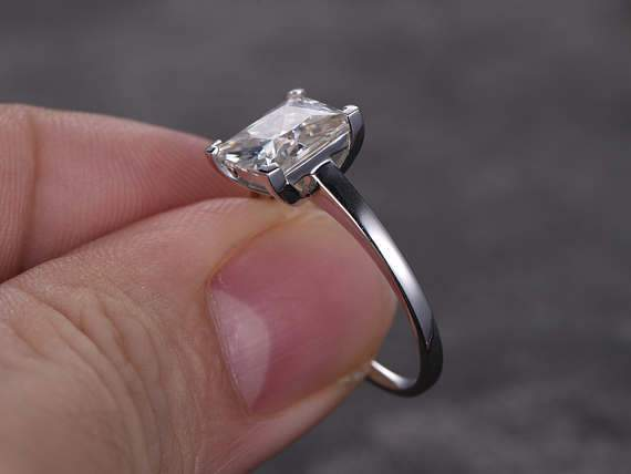 1 Carat Solitaire Moissanite Engagement Ring in White Gold
