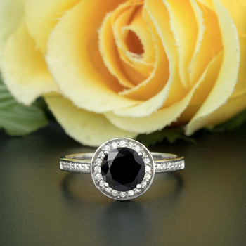 1.25 Carat Round Cut Halo Black Diamond and Diamond Engagement Ring in White Gold for Women