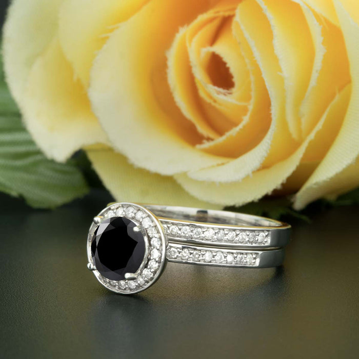 1.5 Carat Round Cut Halo Black Diamond and Diamond Bridal Ring Set in 9k White Gold for Women