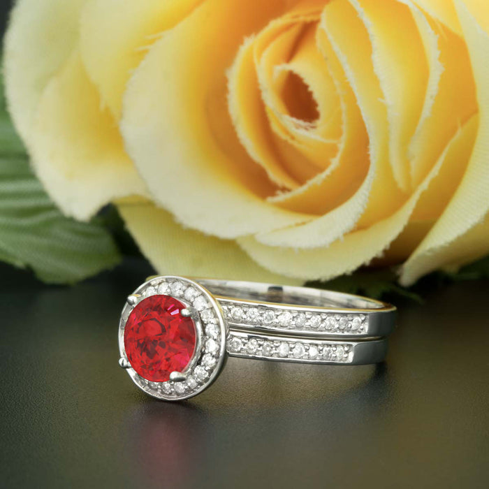 1.5 Carat Round Cut Halo Ruby and Diamond Bridal Ring Set in 9k White Gold for Women