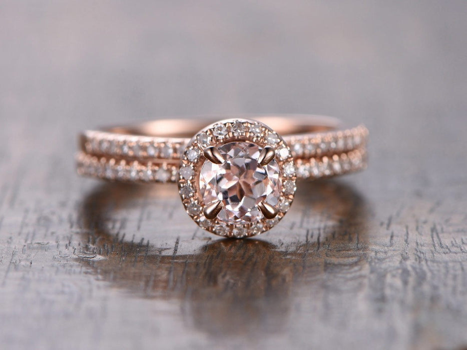 Limited Time Sale 1.50 Carat Round Cut Morganite and Diamond Halo Bridal Ring Set in   Rose Gold