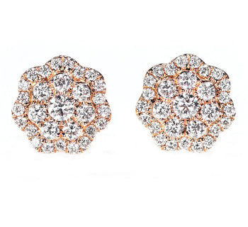 Floral 1 Carat Round Cut Diamond Cluster Stud Earrings in Rose Gold