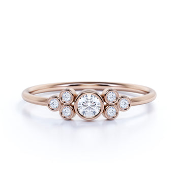 7 Stone Bezel Set Round Shape Diamond Stacking Ring in Rose Gold