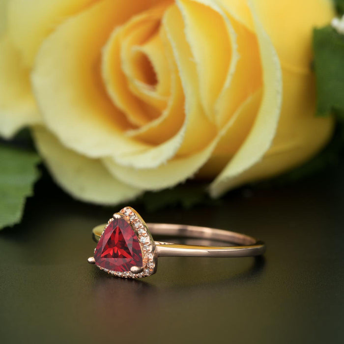 1.25 Carat Trillion Cut Halo Ruby and Diamond Engagement Ring in 9k Rose Gold Flawless Ring
