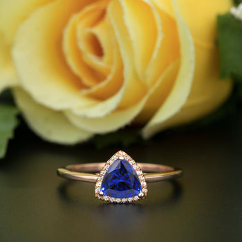 1.25 Carat Trillion Cut Halo Sapphire and Diamond Engagement Ring in Rose Gold Flawless Ring