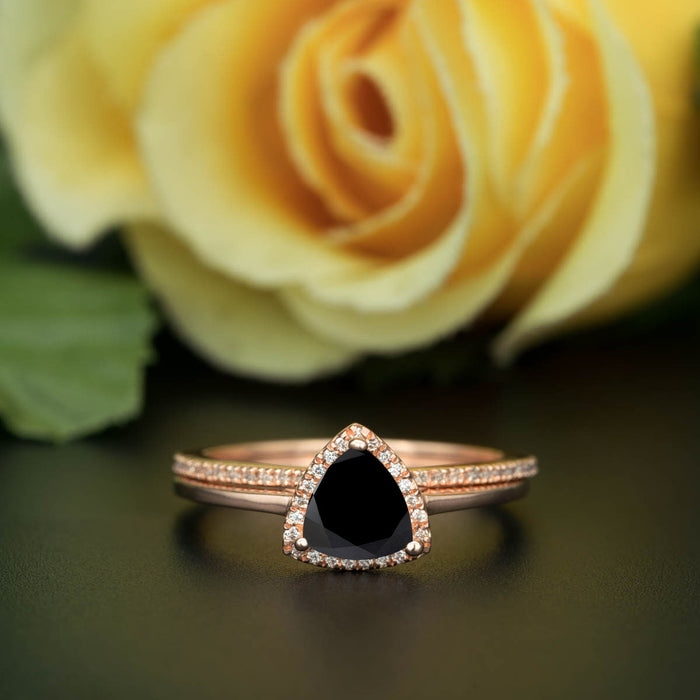 1.5 Carat Trillion Cut Halo Black Diamond and Diamond Classic Wedding Ring Set in 9k Rose Gold Flawless Ring