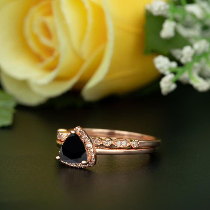 1.5 Carat Trillion Cut Halo Black Diamond and Diamond Art Deco Wedding Ring Set in 9k Rose Gold Flawless Ring