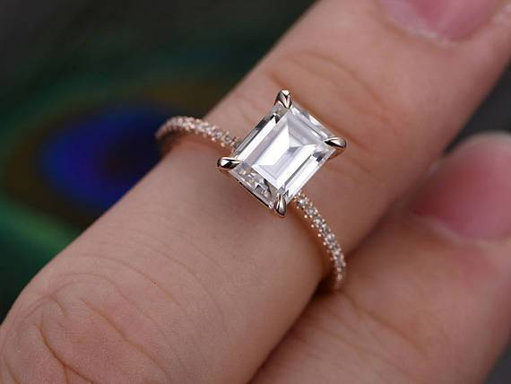 1.25 Carat Emerald Cut Moissanite and Diamond Engagement Ring in 9k Rose Gold