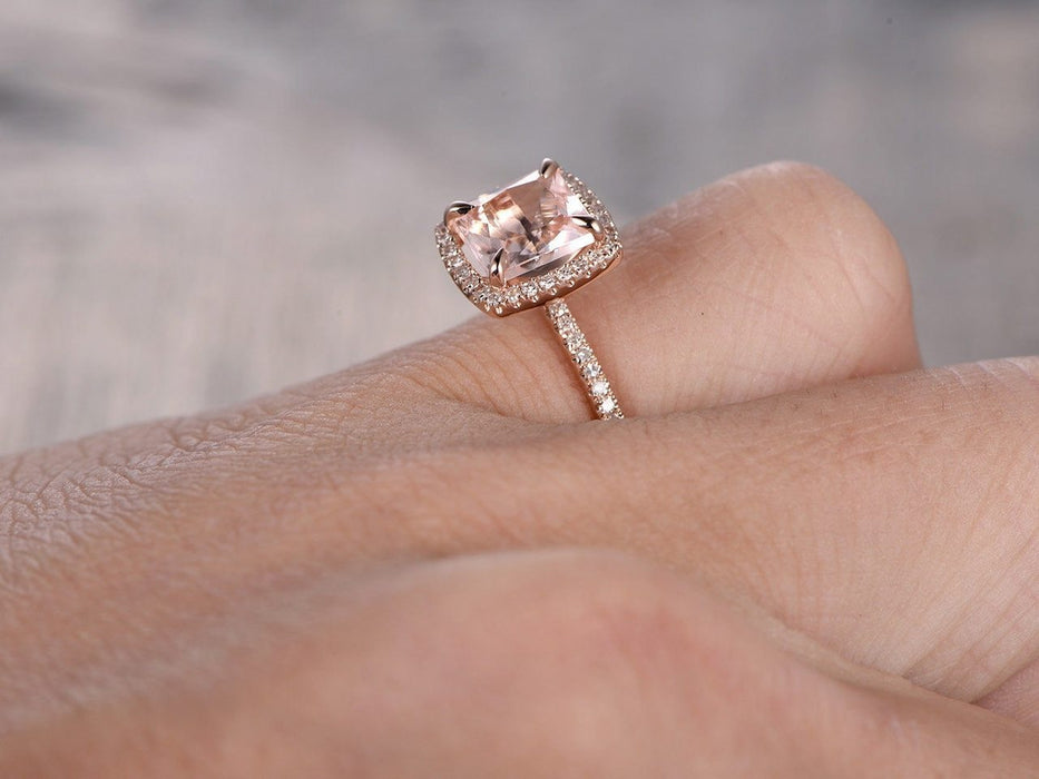 1.50 Carat Princess Cut Morganite and Diamond Engagement Ring in Rose Gold
