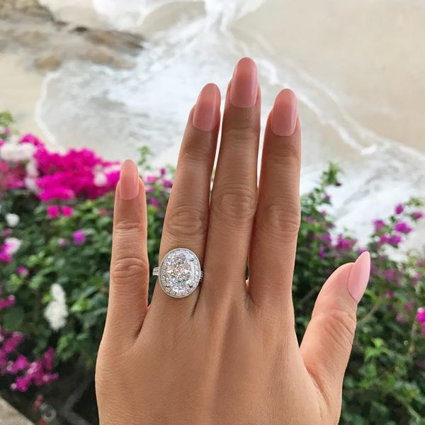 Final Sale: 6 Carat Oval Cut Halo Filigree Engagement Ring in White Gold over Sterling Silver