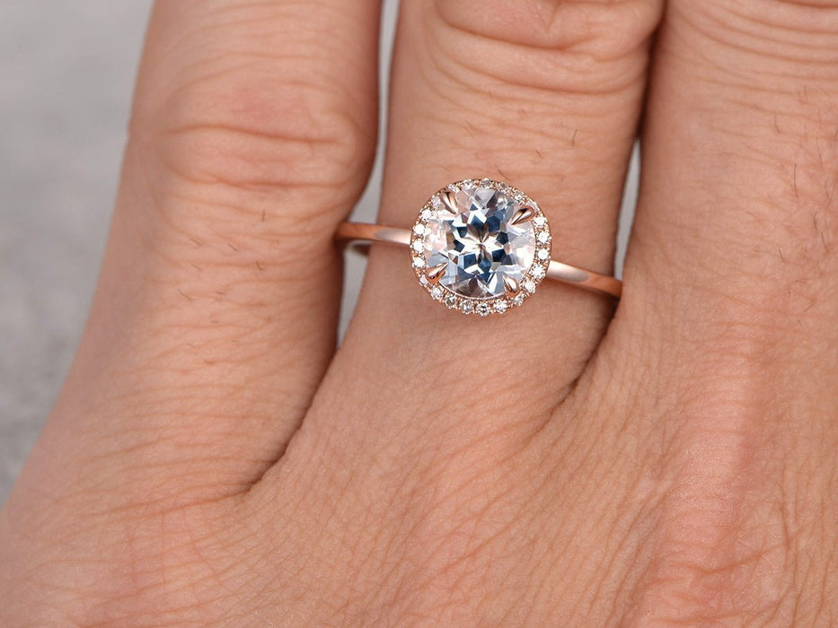 1.25 Carat Round Cut Aquamarine and diamond Engagement Ring in Rose Gold