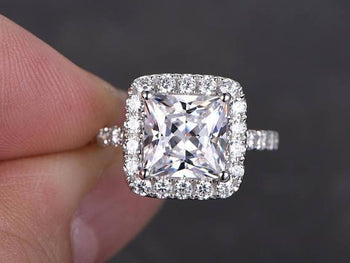 1.50 Carat Princess Cut Moissanite and Diamond Halo Engagement Ring in White Gold