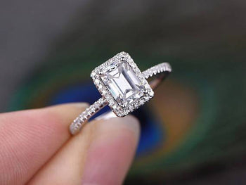 1.50 Carat Emerald Cut Moissanite and Diamond Halo Engagement Ring in 9k White Gold