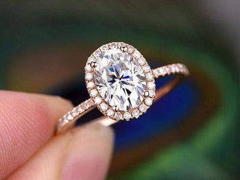 1.50 Carat Oval Cut Moissanite and Diamond Halo Engagement Ring in 9k Rose Gold