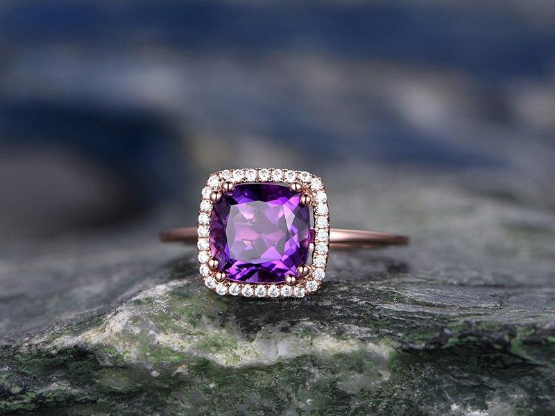 1.50 Carat Cushion Amethyst and Diamond Halo Engagement Ring in Rose Gold
