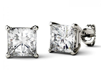 Limited Time Sale 2 Carat Princess Cut Moissanite Solitaire Stud Earrings in White Gold