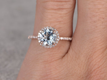1.50 Carat Round Cut Aquamarine and Diamond Halo Engagement Ring in Rose Gold