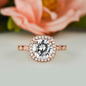 2.25 Carat Art Deco Halo Engagement Ring in Rose Gold over Sterling Silver