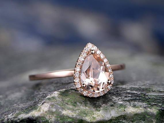 Superb 1.25 Carat Pear Cut Morganite and Diamond Engagement Ring in Rose Gold