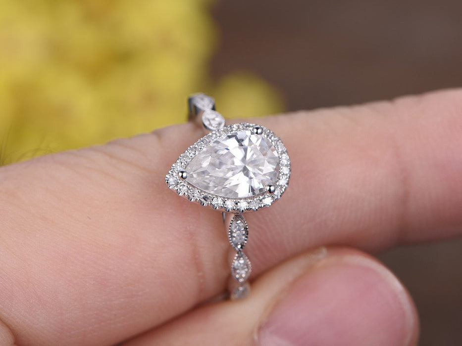 Antique 1.50 Carat Pear Cut Moissanite and Diamond Halo Engagement Ring in White Gold