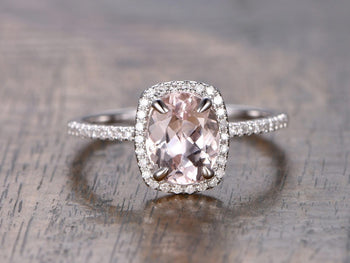 1.25 Carat Oval Cut Morganite and Diamond Engagement Ring in White Gold