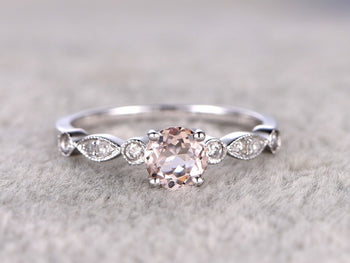 Beautiful 1.25 Carat Round Cut Morganite and Diamond Engagement Ring in White Gold