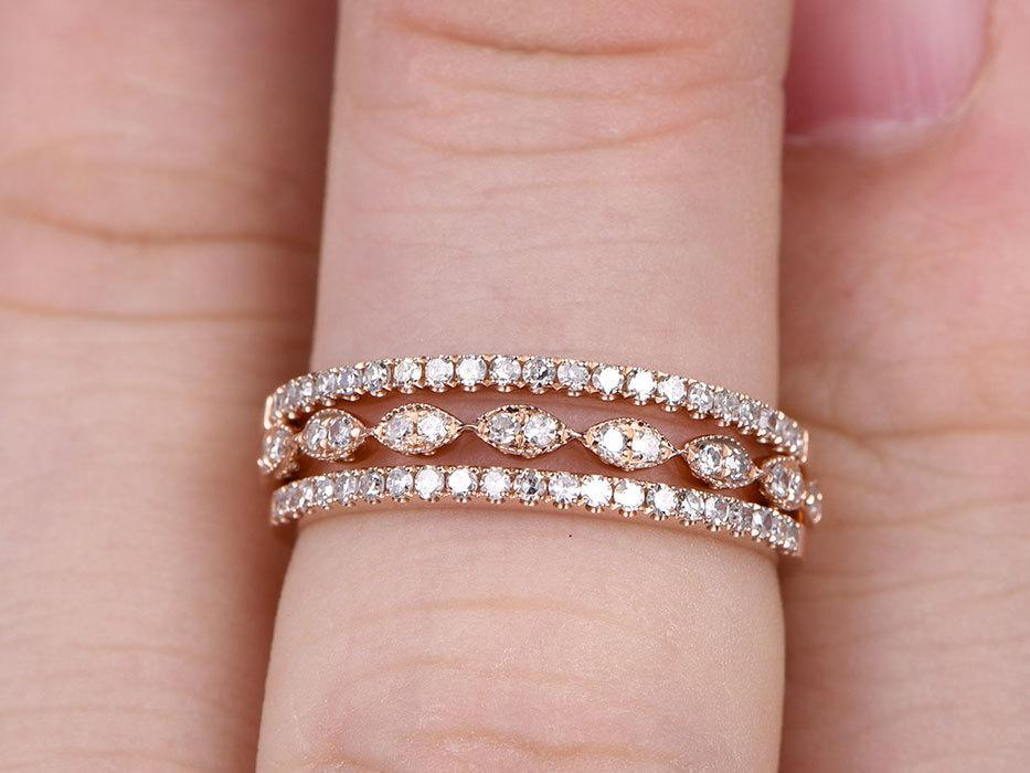 1 Carat Round cut Diamond Wedding Ring Bands Trio Set art deco in Rose Gold