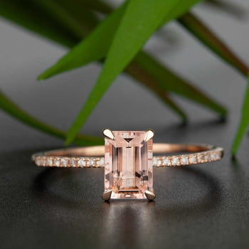 Limited Time Sale: Bestselling 1.25 Carat Emerald Cut Morganite and Diamond Engagement Ring in Rose Gold