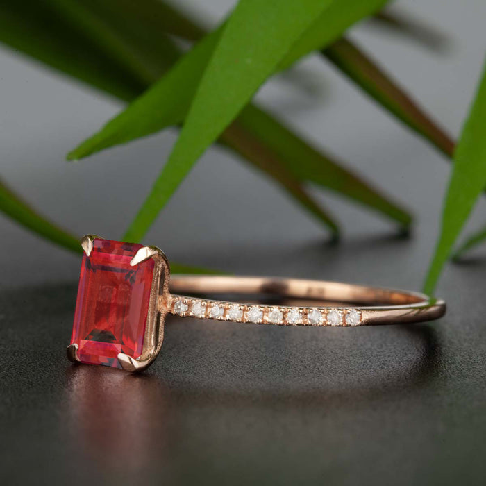 Dazzling 1.25 Carat Emerald Cut Ruby and Diamond Engagement Ring in 9k Rose Gold