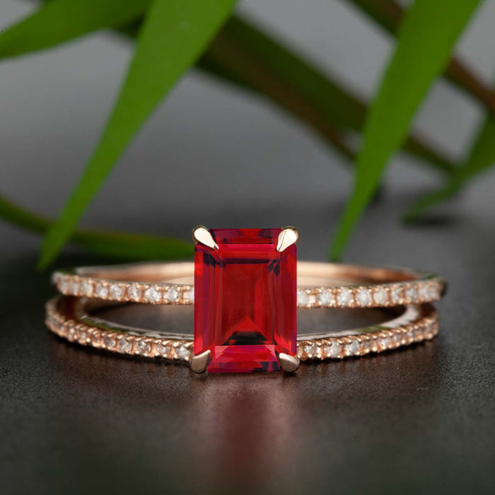 Dazzling 1.5 Carat Emerald Cut Ruby and Diamond Wedding Ring Set in 9k Rose Gold