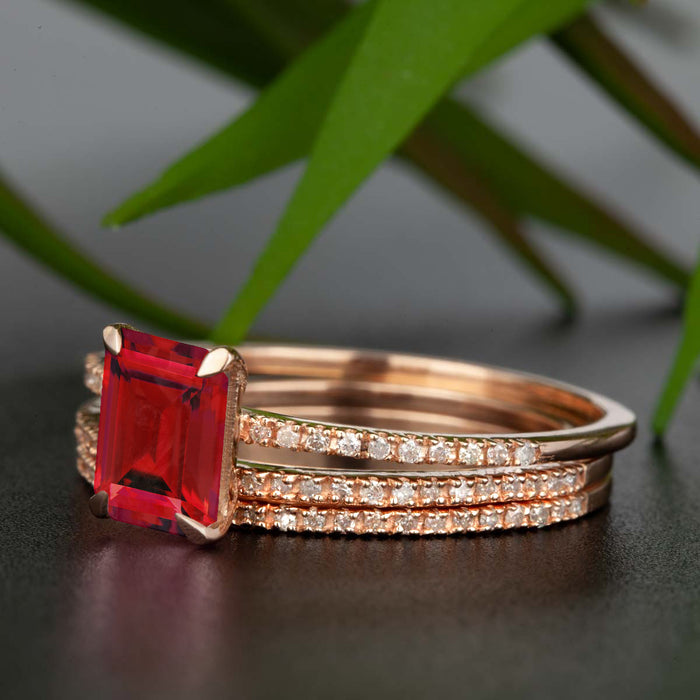 Dazzling 2 Carat Emerald Cut Ruby and Diamond Trio Wedding Ring Set in 9k Rose Gold