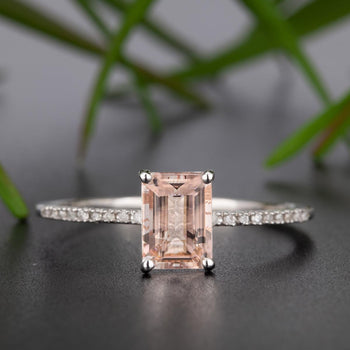 Flawless 1.25 Carat Emerald Cut Peach Morganite and Diamond Engagement Ring in White Gold Antique Ring
