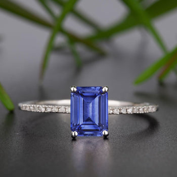 Dazzling 1.25 Carat Emerald Cut Sapphire and Diamond Engagement Ring in White Gold