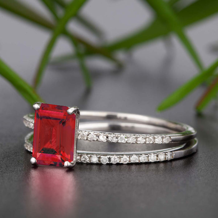Dazzling 1.5 Carat Emerald Cut Ruby and Diamond Wedding Ring Set in 9k White Gold