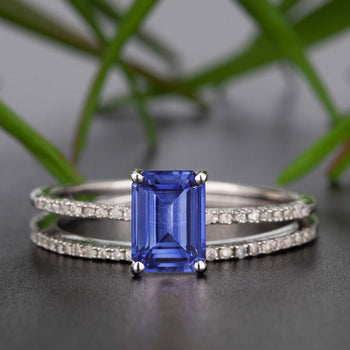 Dazzling 1.50 Carat Emerald Cut Sapphire and Diamond Wedding Ring Set in White Gold
