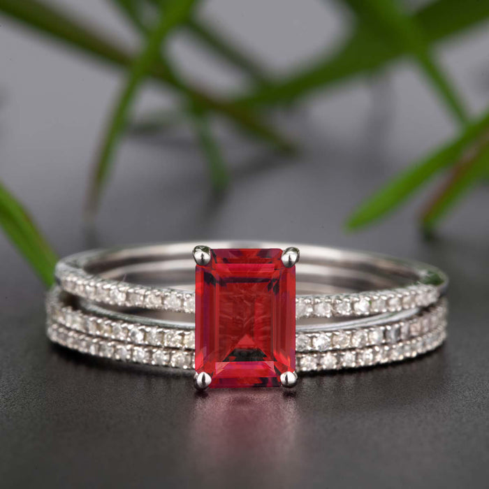 Dazzling 2 Carat Emerald Cut Ruby and Diamond Trio Wedding Ring Set in 9k White Gold