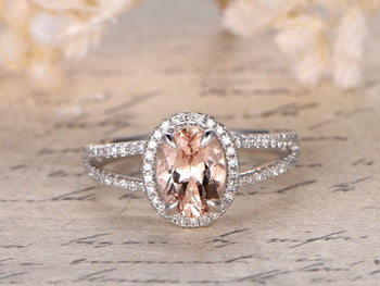 Perfect 1.50 Carat Morganite and Diamond Wedding Bridal Ring in Rose Gold