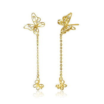 Butterfly .15 Carat Round Cut Diamond Drop Stud Earrings in Yellow Gold