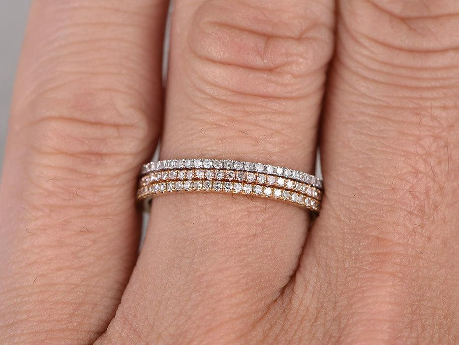 1 Carat trio Wedding Ring Bands in White, Yellow and Rose Gold for Women