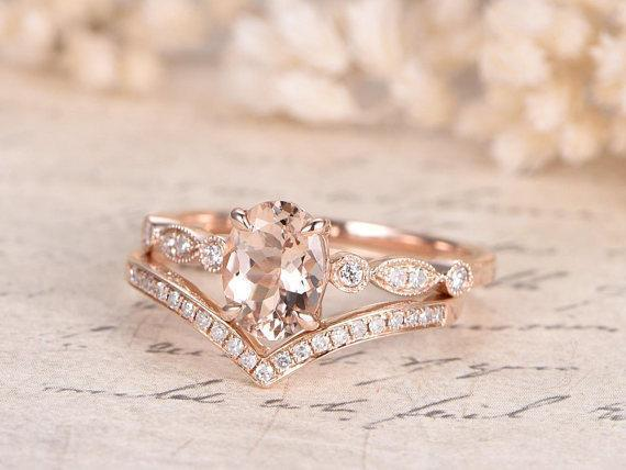 1.50 Carat Oval Cut Morganite and Diamond Wedding Bridal Set in Rose Gold