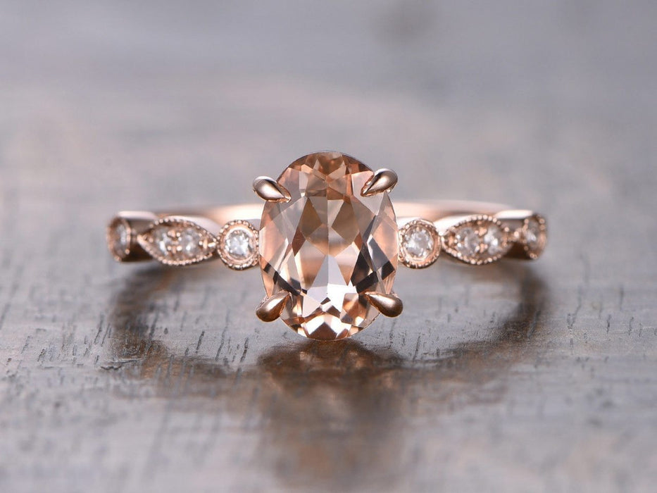 1.25 Carat Oval Cut Morganite and Diamond Engagement Ring in Rose Gold