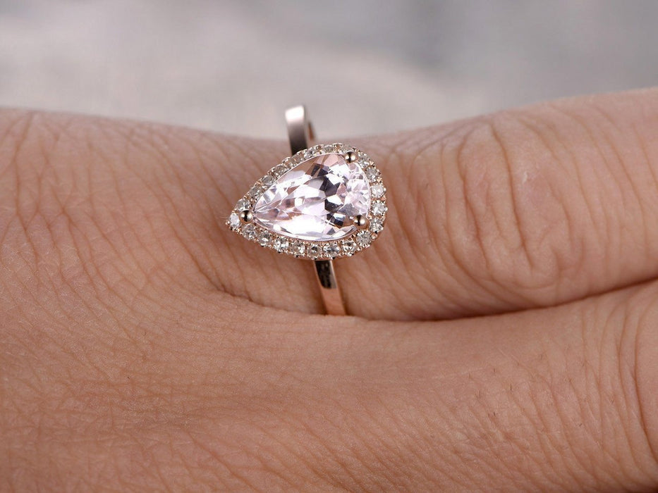 Perfect 1.25 Carat Pear Cut Morganite and Diamond Halo Engagement Ring in Rose Gold