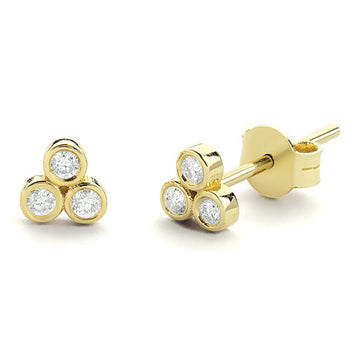 Three Stone .50 Carat Round Cut Diamond Bezel Stud Earrings in Yellow Gold