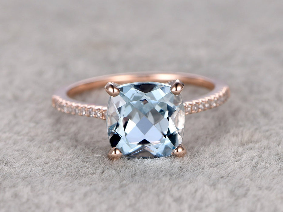 1.25 Carat Cushion Cut Aquamarine and Diamond Engagement Ring in Rose Gold
